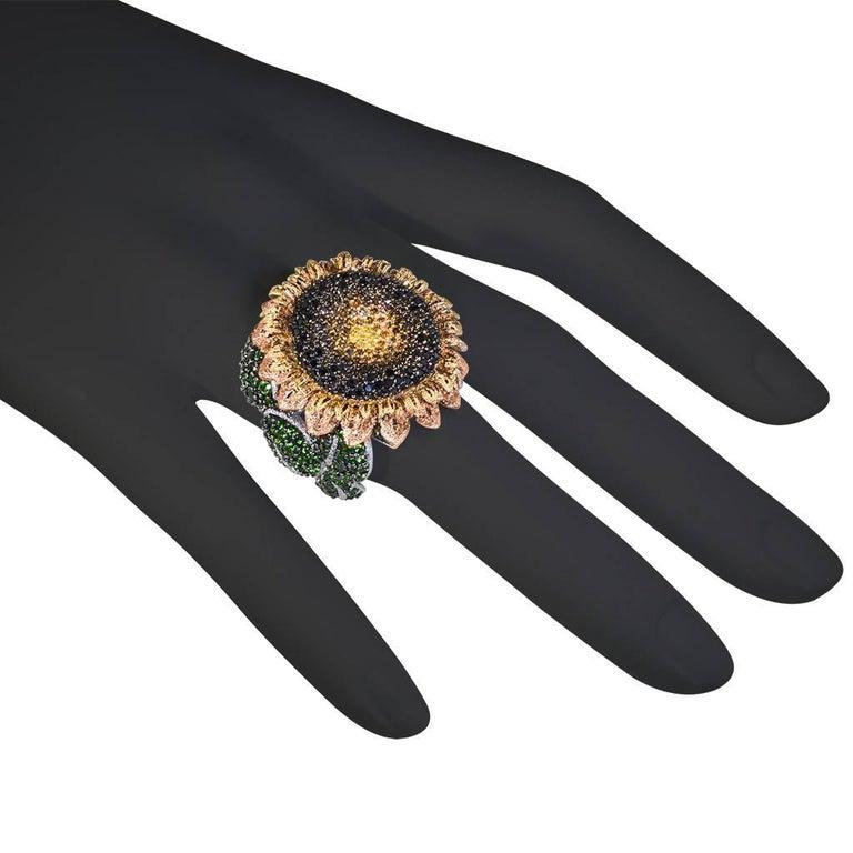 Alex Soldier Diamond Tsavorite Garnet Chrome Diopside Gold Sunflower Ring For Sale 2