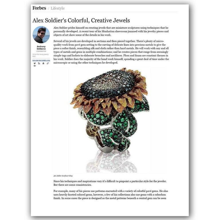 Alex Soldier Diamond Tsavorite Garnet Chrome Diopside Gold Sunflower Ring For Sale 4