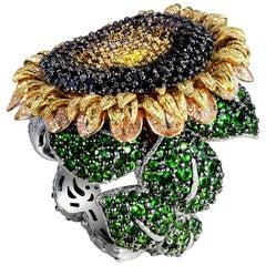 Alex Soldier Diamond Tsavorite Garnet Chrome Diopside Gold Sunflower Ring
