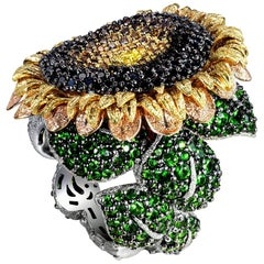 Alex Soldier Diamond Tsavorite Garnet Chrome Diopside Gold Sunflower Ring