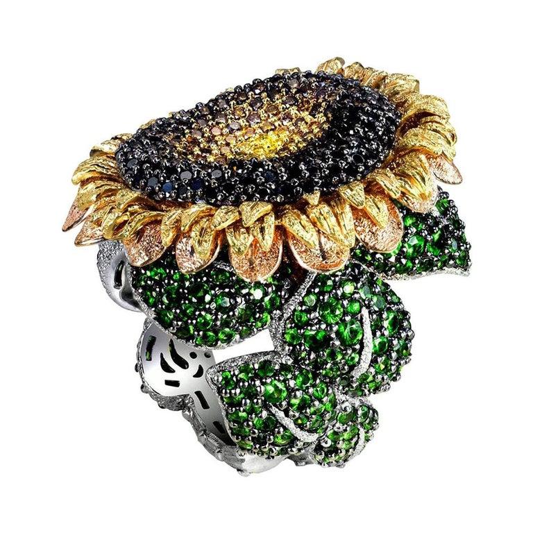 Alex Soldier Diamond Tsavorite Garnet Chrome Diopside Gold Sunflower Ring For Sale