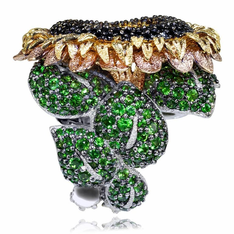 Women's or Men's Alex Soldier Diamond Tsavorite Garnet Gold Sunflower Ring
