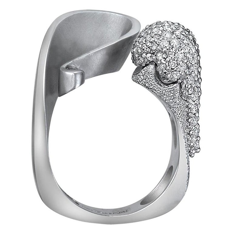 Contemporary Alex Soldier Diamond White Gold Textured Crossover Bypass Cocktail Ring