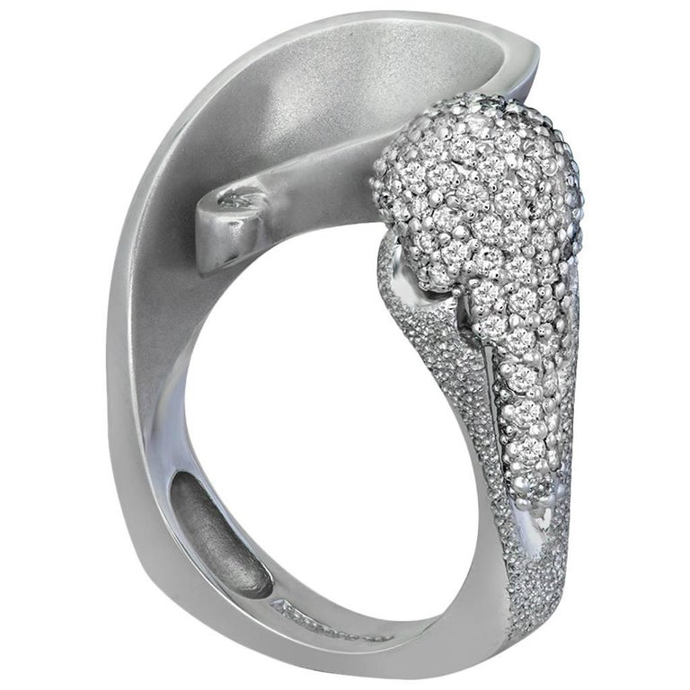 Round Cut Alex Soldier Diamond White Gold Textured Crossover Bypass Cocktail Ring For Sale