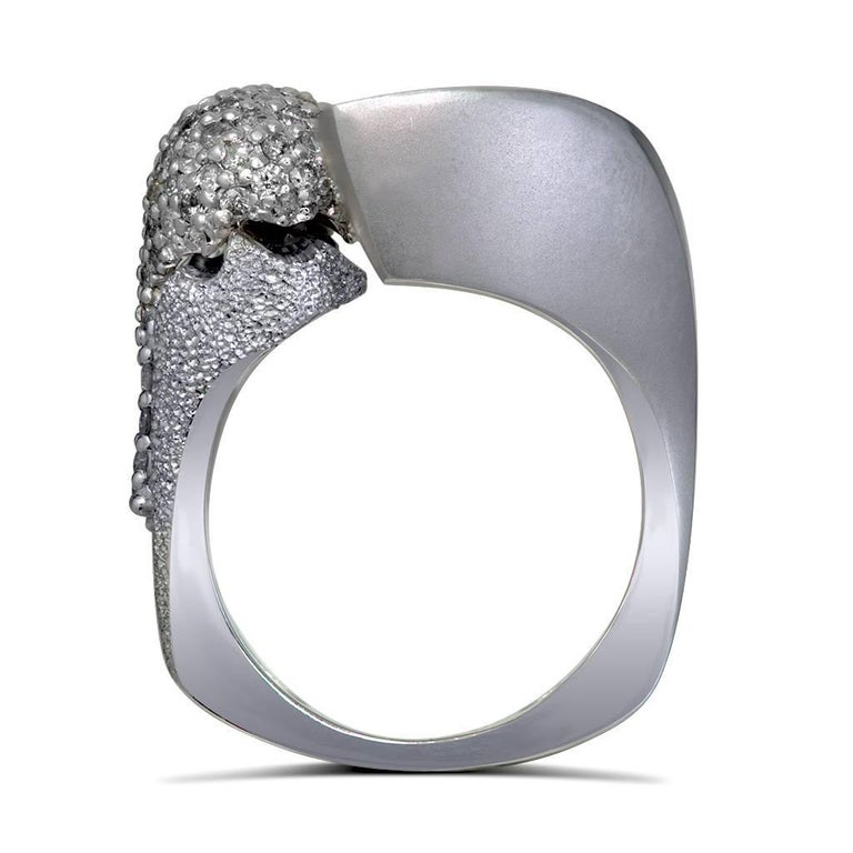 Round Cut Alex Soldier Diamond White Gold Textured Crossover Bypass Cocktail Ring