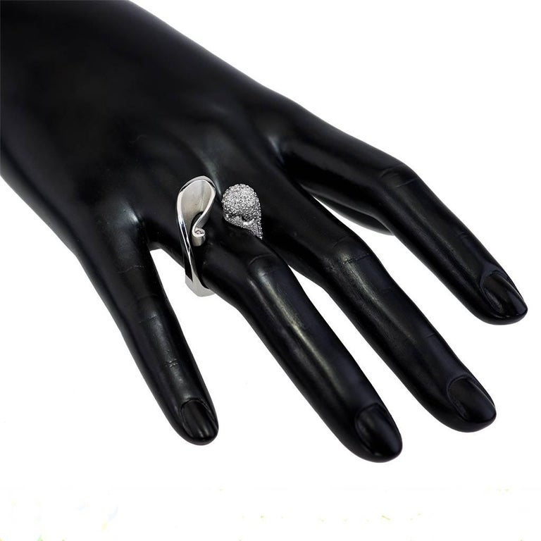 Alex Soldier Diamond White Gold Textured Crossover Bypass Cocktail Ring 2