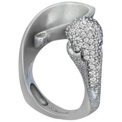 Alex Soldier Diamond White Gold Textured Crossover Bypass Cocktail Ring