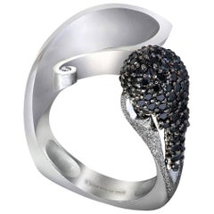 Alex Soldier Diamond White Gold Textured Crossover Ring One of a Kind