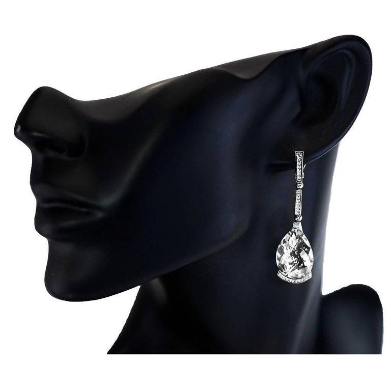 Women's or Men's Alex Soldier Diamond White Quartz Gold Swan Drop Earrings For Sale