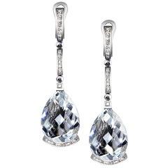 Alex Soldier Diamond White Quartz Gold Swan Drop Earrings One of a Kind