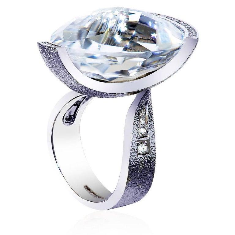 Pear Cut Alex Soldier Diamond White Quartz Gold Textured Swan Ring For Sale