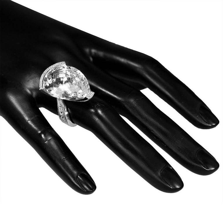 Alex Soldier Diamond White Quartz Gold Textured Swan Ring For Sale 2