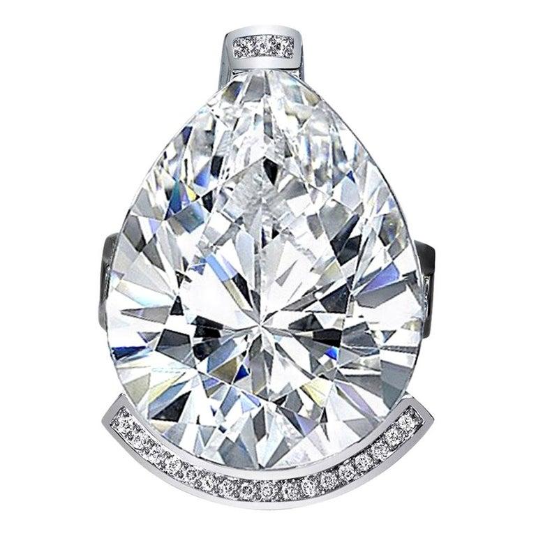 Alex Soldier Diamond White Quartz Gold Textured Swan Ring For Sale