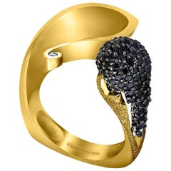 Alex Soldier Diamond Yellow Gold Textured Crossover Bypass Ring One of a Kind