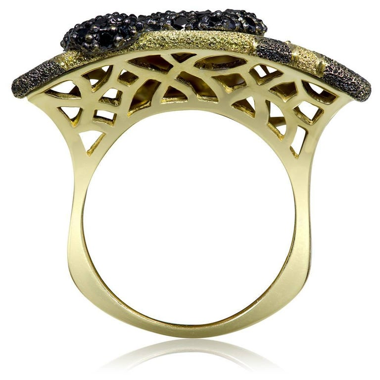 Alex Soldier Gold Volna pattern ring is made with 1 carat of black diamonds, in 18 karat yellow gold with black rhodium (platinum family), and finished with signature proprietary metalwork that creates an illusion of inner sparkle.  Handmade in NYC.