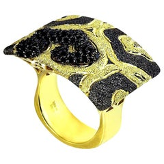 Alex Soldier Diamond Yellow Gold Textured Volna Ring One of a Kind