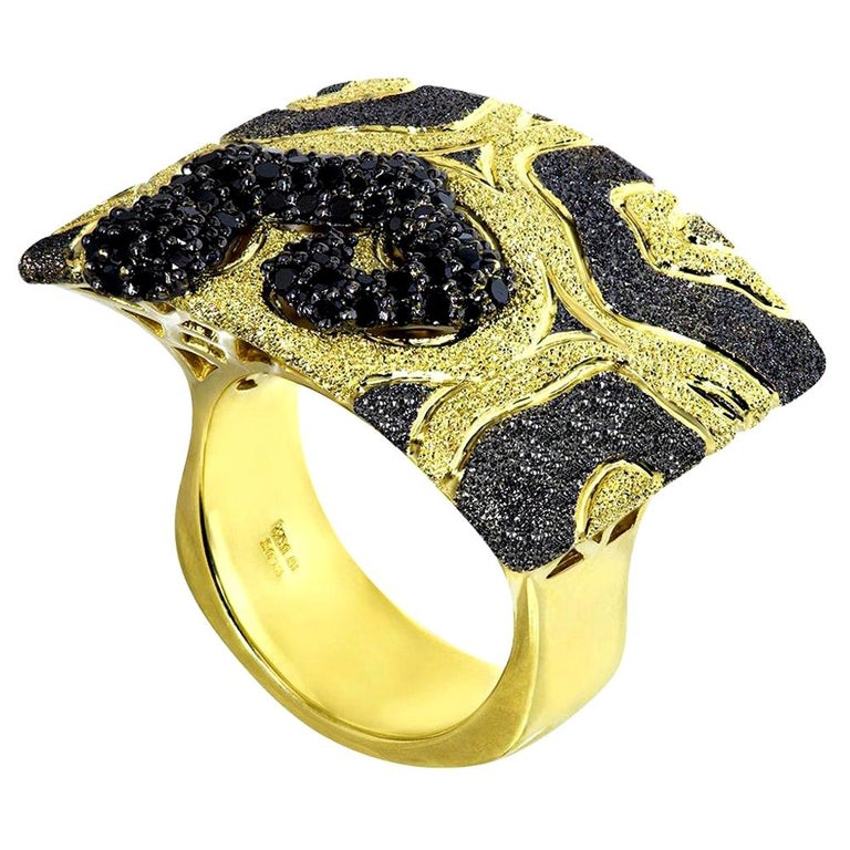 Alex Soldier Diamond Yellow Gold Textured Volna Ring One of a Kind For Sale