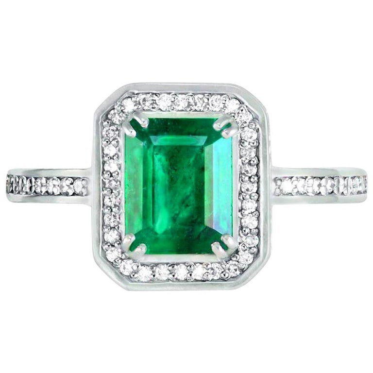 Alex Soldier Emerald Diamond 18 Karat Gold Cocktail Ring One of a Kind For Sale