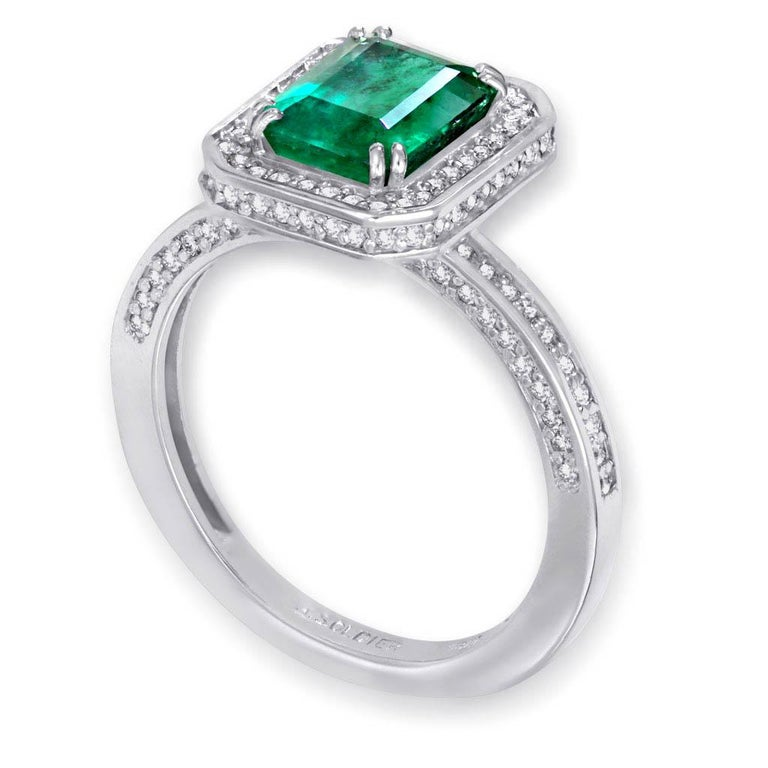 Alex Soldier Eternal Love Ring with emerald 1.7 ct and white diamonds: 0.8 ct in 18 karat white gold. Handmade in NYC. One of a kind. Ring size 8 3/4. Complimentary ring sizing is available within 2 business days. Ring top dimensions: 13.8 mm by