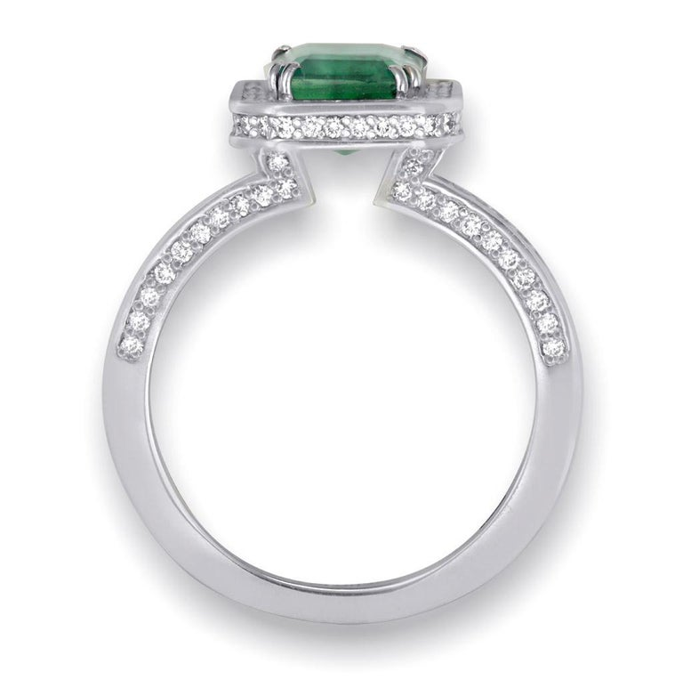 Alex Soldier Emerald Diamond Gold Engagement Wedding Cocktail Ring One of a Kind In New Condition For Sale In New York, NY