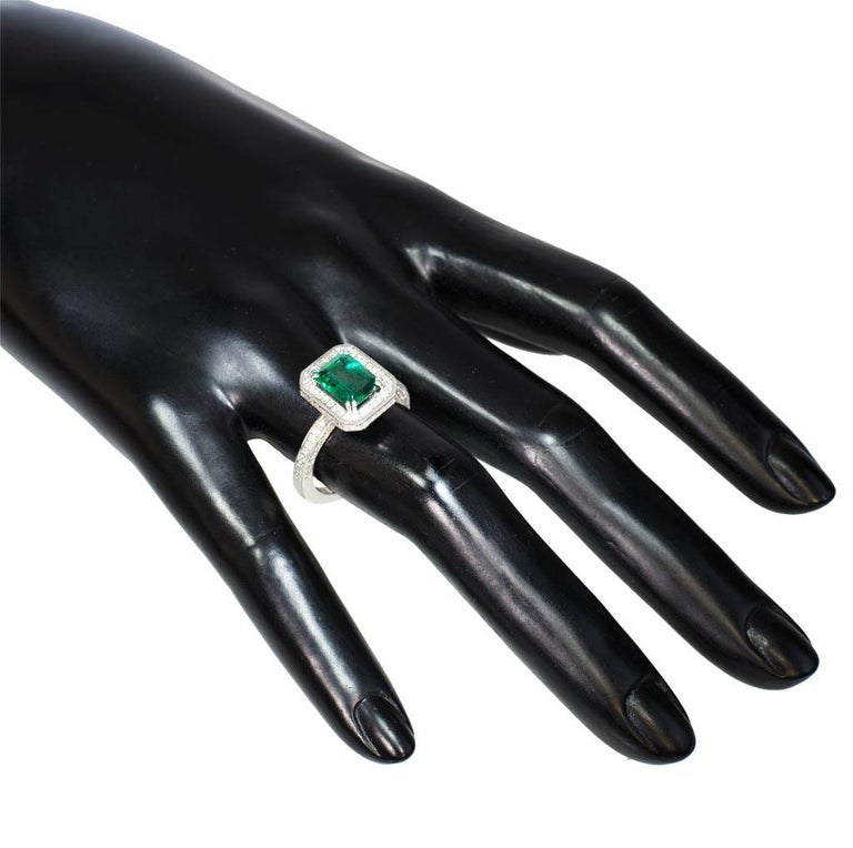 Women's or Men's Alex Soldier Emerald Diamond Gold Engagement Wedding Cocktail Ring One of a Kind For Sale