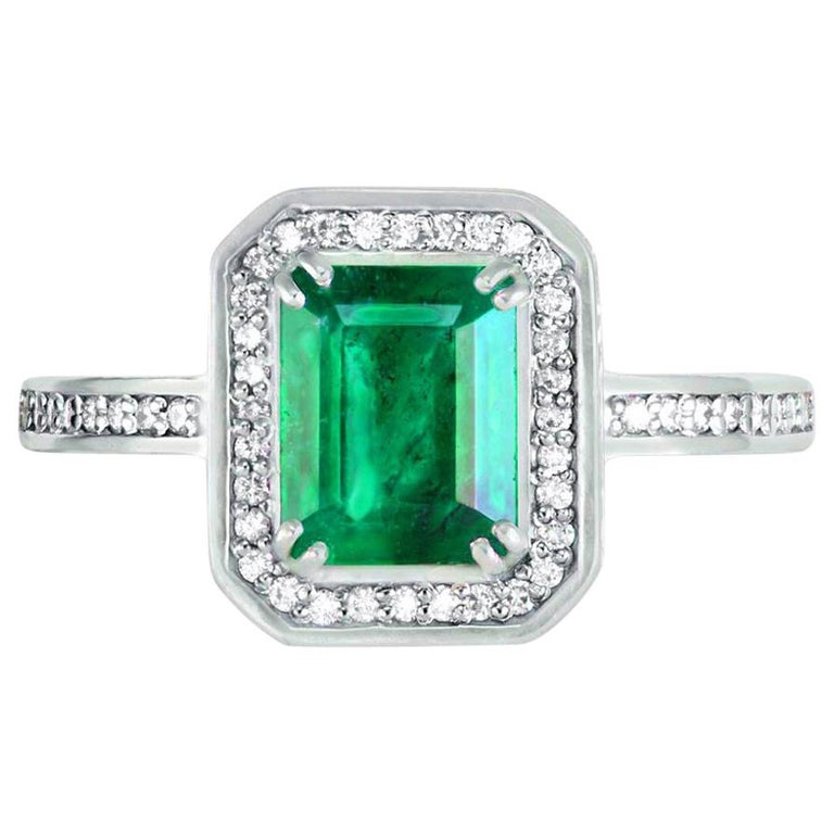 Alex Soldier Emerald Diamond Gold Engagement Wedding Cocktail Ring One of a Kind For Sale