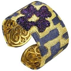 Alex Soldier Garnet Sterling Silver Gold Platinum Hinged Cuff Bracelet