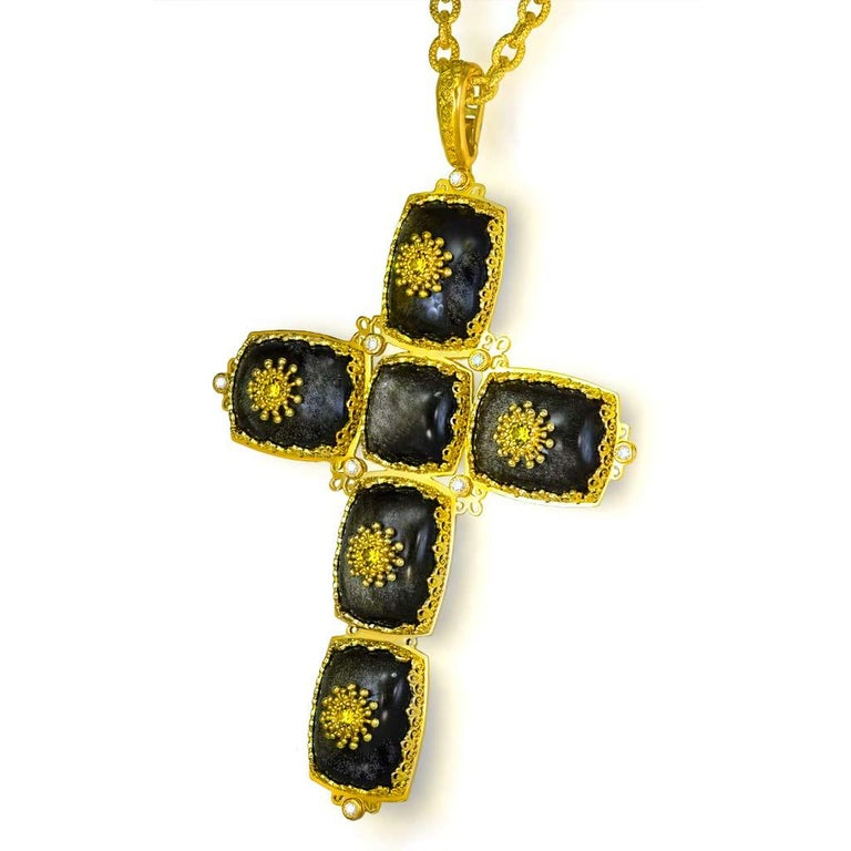 Alex Soldier's Cross collection is a tribute to faith, love and beauty. The design of the cross resembles a fragment of a church or an old icon from a long bygone era. The entire composition consists of several components nestled together to form