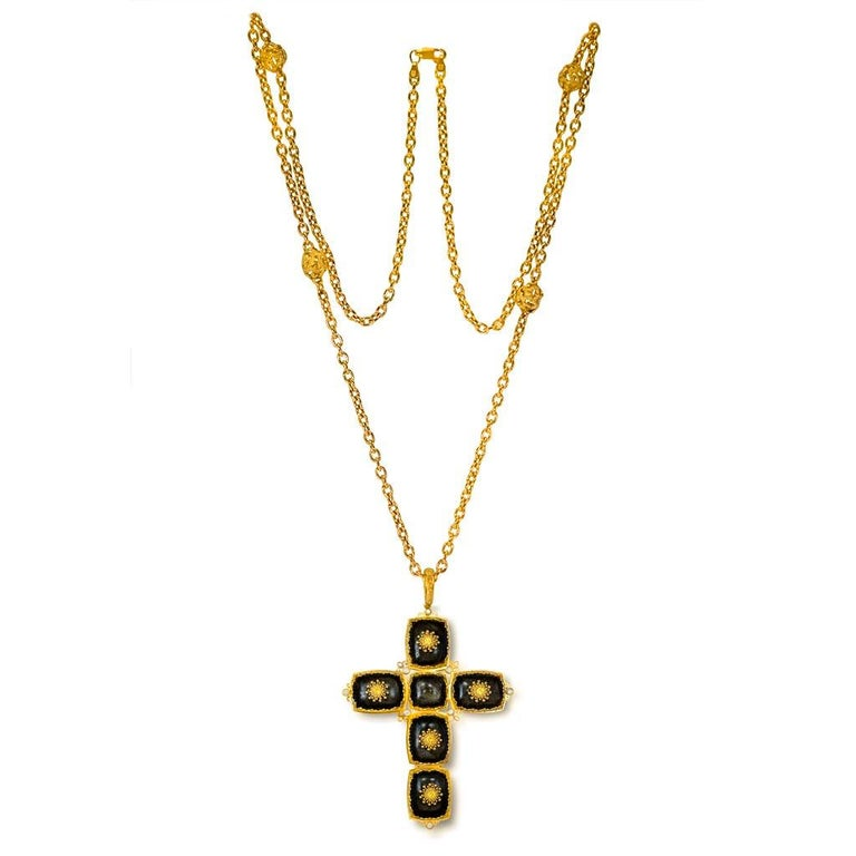 Cushion Cut Alex Soldier Gold Cross Sapphire Diamond Obsidian Necklace Pendant One of a Kind For Sale