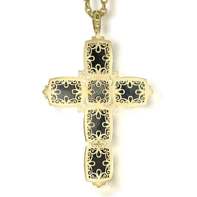 Women's or Men's Alex Soldier Gold Cross Sapphire Diamond Obsidian Necklace Pendant One of a Kind For Sale