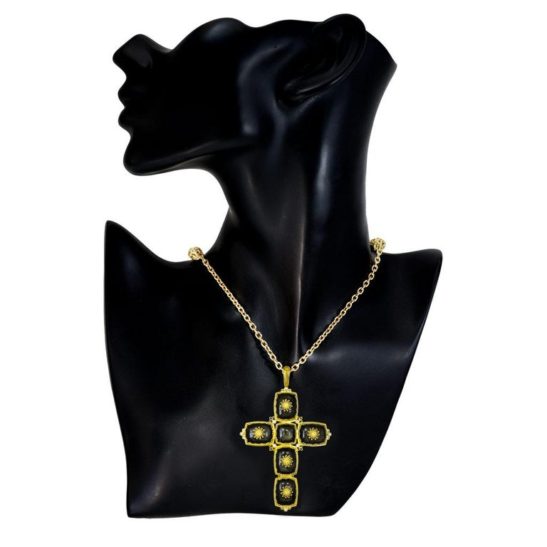 Women's or Men's Alex Soldier Gold Cross Sapphire Diamond Obsidian Necklace Pendant One of a Kind