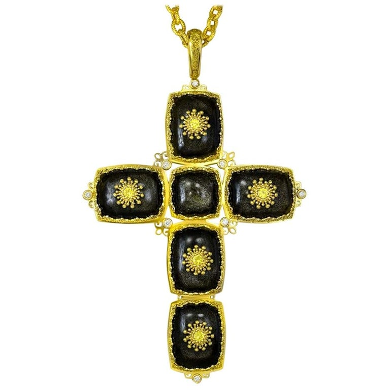 Alex Soldier Gold Cross Sapphire Diamond Obsidian Necklace Pendant One of a Kind For Sale