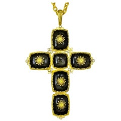 Alex Soldier Gold Cross Sapphire Diamond Obsidian Necklace Pendant One of a Kind