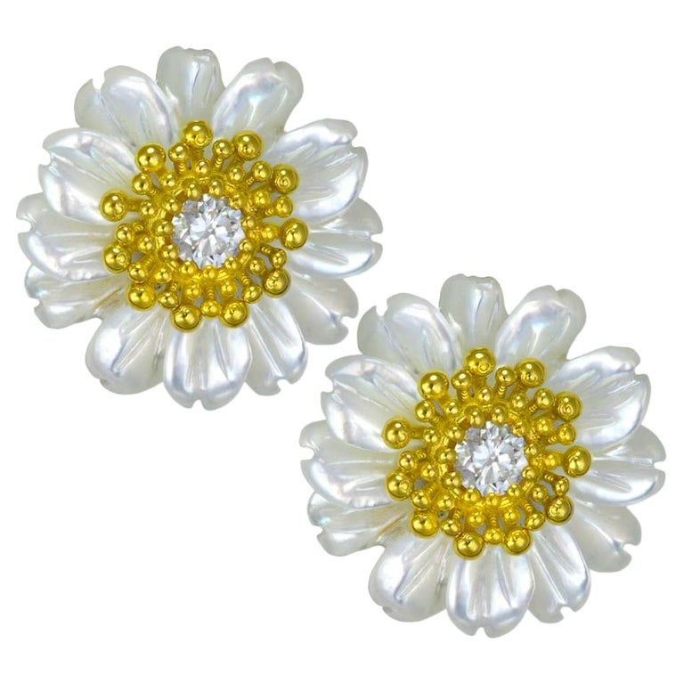 Rose Cut Alex Soldier Gold Diamond Baby Blossom Earrings with Carved Mother of Pearl For Sale