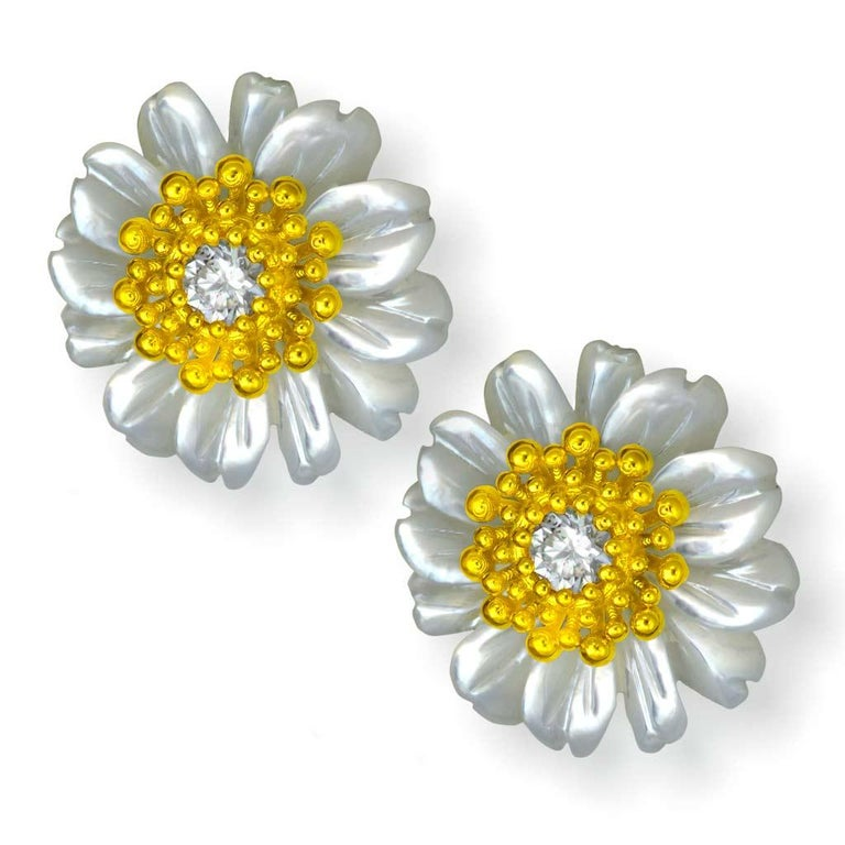 Alex Soldier Gold Diamond Baby Blossom Earrings with Carved Mother of Pearl In New Condition For Sale In New York, NY