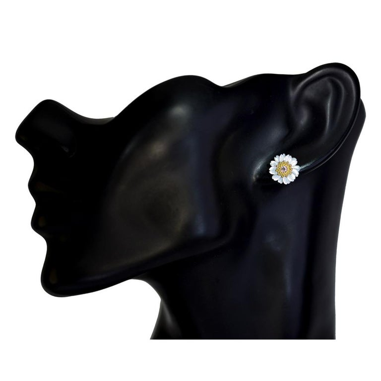Alex Soldier Gold Diamond Baby Blossom Earrings with Carved Mother of Pearl For Sale 2