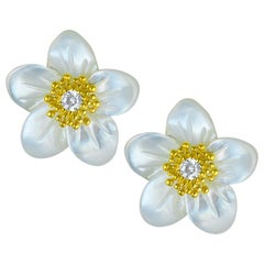 Alex Soldier Gold Diamond Baby Blossom Earrings with Carved Mother of Pearl