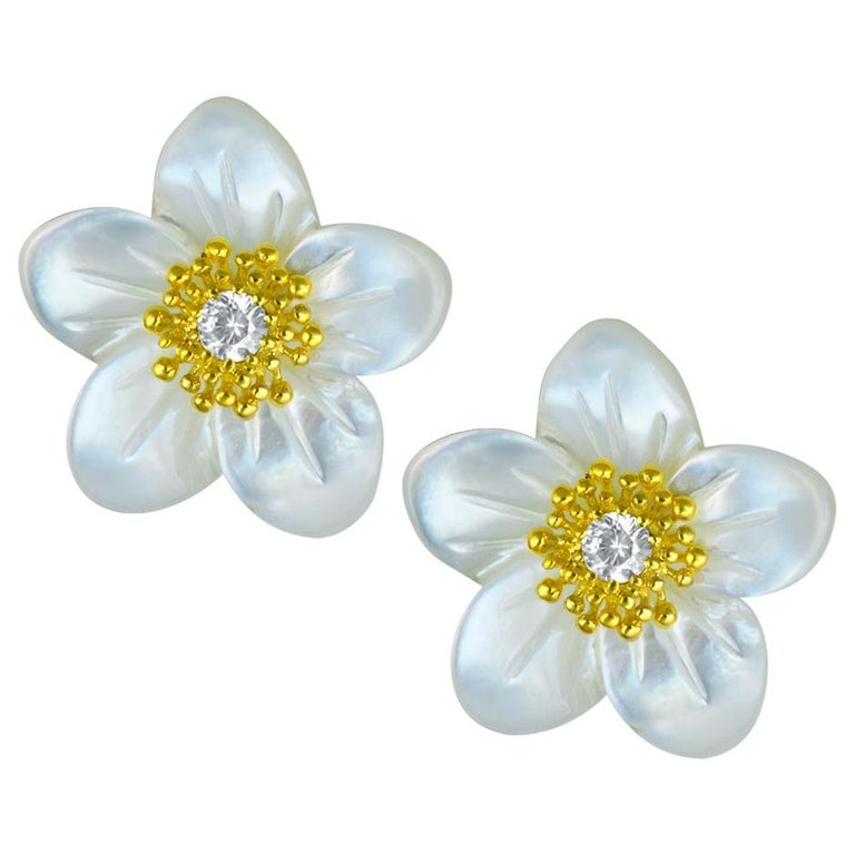 Alex Soldier Gold Diamond Baby Blossom Earrings with Carved Mother of Pearl For Sale