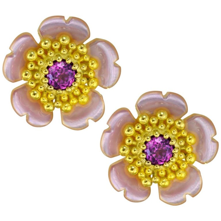 Alex Soldier Gold Garnet Baby Blossom Earrings with Carved Mother of Pearl For Sale