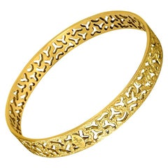 Alex Soldier Gold Hand-Textured Bangle Bracelet One of a Kind