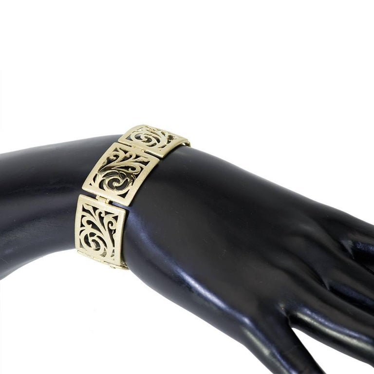 Alex Soldier Gold Ornament Contrast Texture Link Bracelet One of a Kind In New Condition For Sale In New York, NY