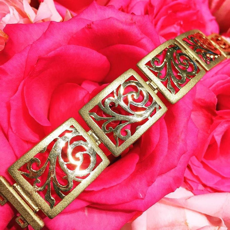 Women's or Men's Alex Soldier Gold Ornament Contrast Texture Link Bracelet One of a Kind For Sale
