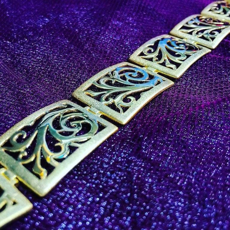 Alex Soldier Gold Ornament Contrast Texture Link Bracelet One of a Kind For Sale 1