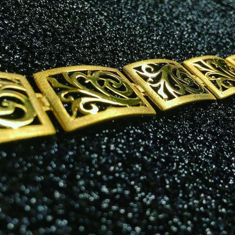 Alex Soldier Gold Ornament Contrast Texture Link Bracelet One of a Kind For Sale 2