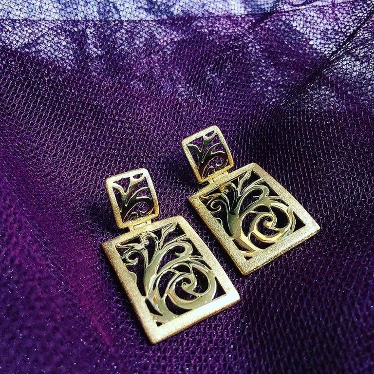 Alex Soldier Gold Ornament Contrast Texture Link Bracelet One of a Kind For Sale 3