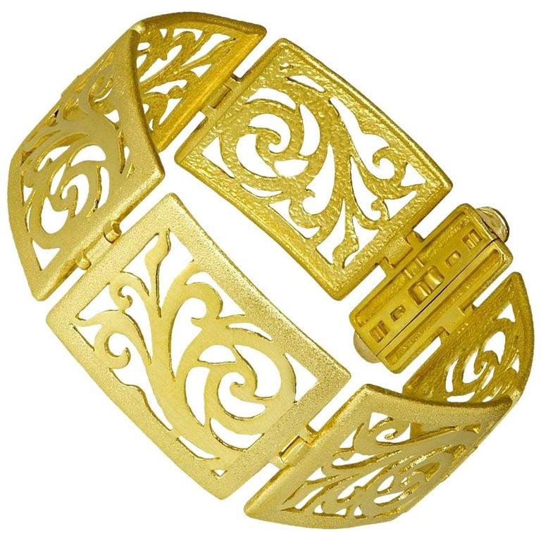 Alex Soldier Gold Ornament Contrast Texture Link Bracelet One of a Kind For Sale
