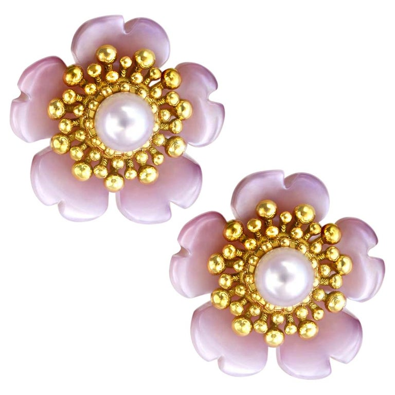 Alex Soldier Gold Pearl Baby Blossom Earrings with Hand Carved Mother of Pearl