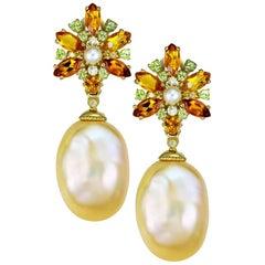 Alex Soldier Gold Pearl Citrine Peridot Diamond Drop Earrings One of a Kind