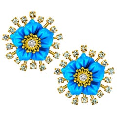 Alex Soldier Gold Turquoise Diamond Blossom Earrings with Carved Mother of Pearl