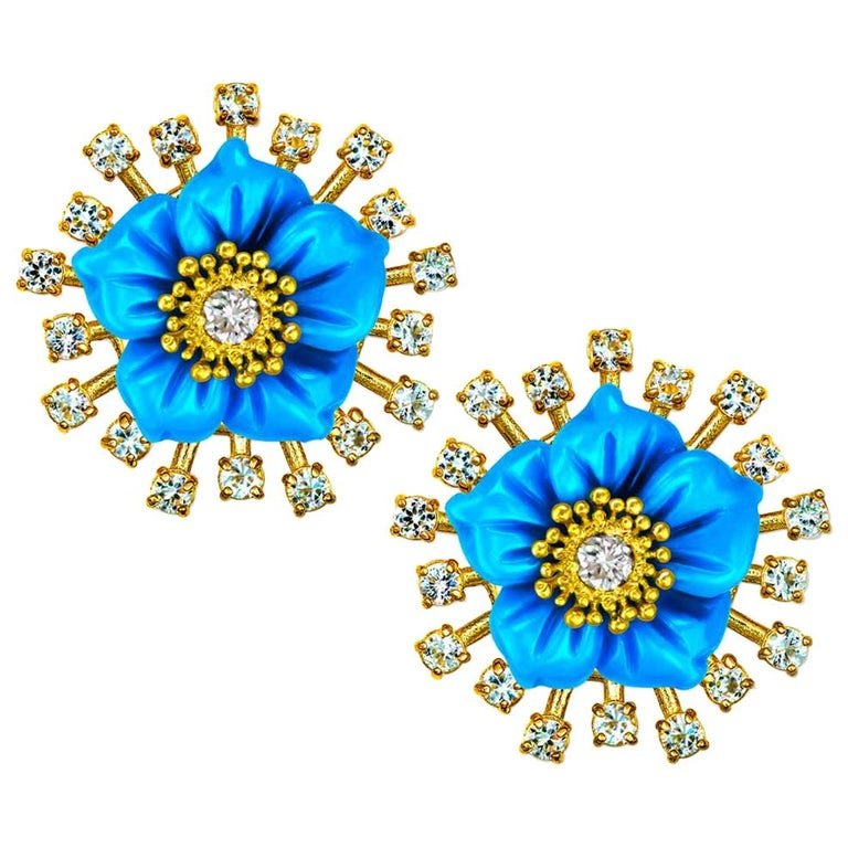 Alex Soldier Gold Turquoise Diamond Blossom Earrings with Carved Mother of Pearl For Sale
